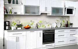Самоклейка Плівка для фартуха Квітковий напіввінок Білі Лілії наклейка на стіну 60х250см Квіти Зелений