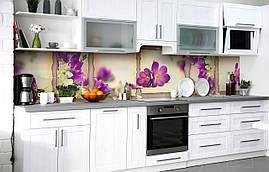 Кухонный фартук 3Д пленка Эдельвейс Крокусы фотопечать наклейка на стену 60х250см Цветы Фиолетовый
