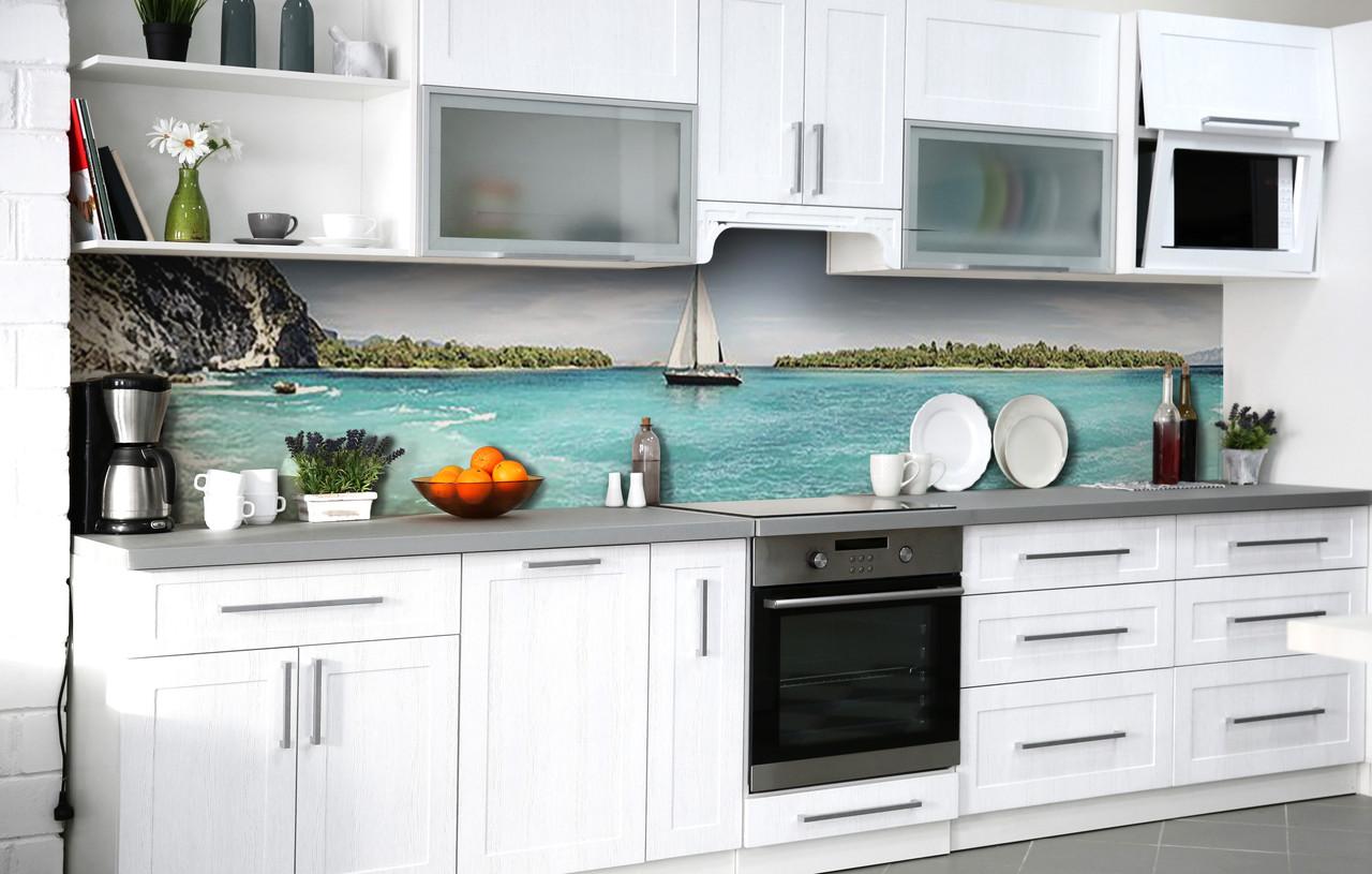 Кухонный фартук 3Д пленка Белеет парус одинокий фотопечать наклейка на стену 60х250см Пейзаж