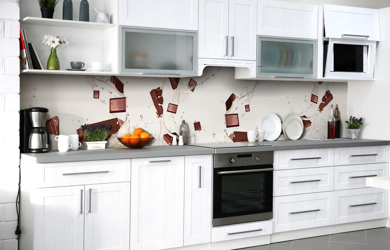 Кухонний фартух 3Д плівка Молочний шоколад фотодрук наклейка на стіну 60х250см Абстракція