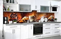 Самоклеющаяся Пленка для Фартука  Свежий завтрак наклейка на стену 60х250см кофе, фото 1