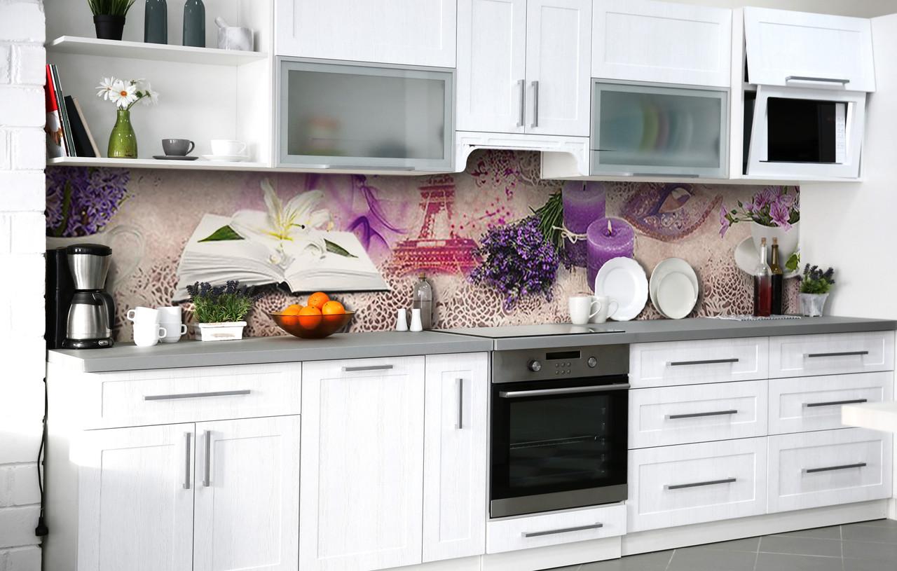 Кухонный фартук 3Д пленка Аромат лавандовой свечи фотопечать наклейка на стену 60х250см Абстракция
