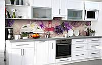 Кухонный фартук 3Д пленка Аромат лавандовой свечи фотопечать наклейка на стену 60х250см Абстракция, фото 1