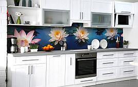 Самоклейка Плівка для фартуха Лотос на плаву наклейка на стіну 60х250см Квіти