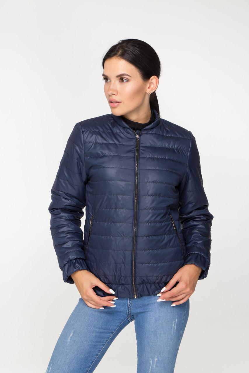 Весняна коротка стьобана куртка синього кольору на блискавці, розмір від 44 до 58