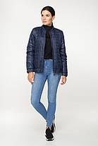 Весняна коротка стьобана куртка синього кольору на блискавці, розмір від 44 до 58, фото 3
