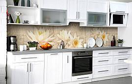 Кухонний фартух 3Д плівка Шепіт лотоса фотодрук наклейка на стіну 60х250см Квіти