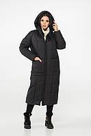 Удлиненный чёрный пуховик женский на синтепухе, большого размера от 44 до 54
