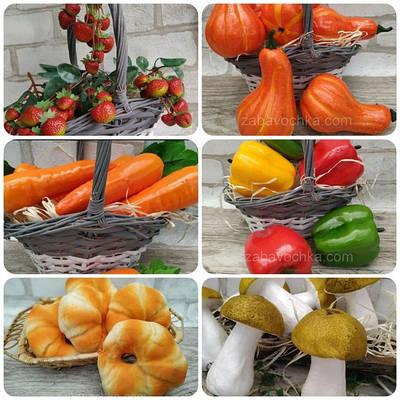 Муляжи, искусственные ягоды, грибы, хлебобулочные изделия