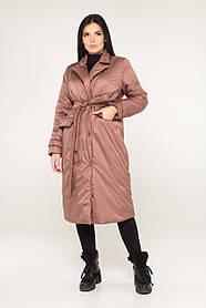 Женское пальто свободного кроя из плащевки цвет капучино,  размер от 44 до 52