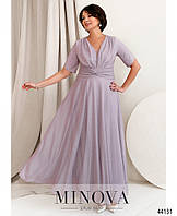 Шикарное женское платье макси с блестками, лавандового цвета, большой размер от 48 до 54