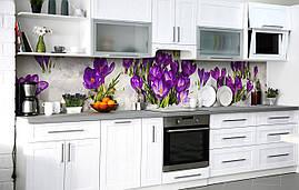 Кухонный фартук 3Д пленка Крокусы в снегу фотопечать наклейка на стену 60х250см Цветы Фиолетовый