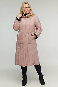 Пальто двухстороннее А-образный силуэта из плащевой ткани цвет пудра, большой размер от  48 до 64