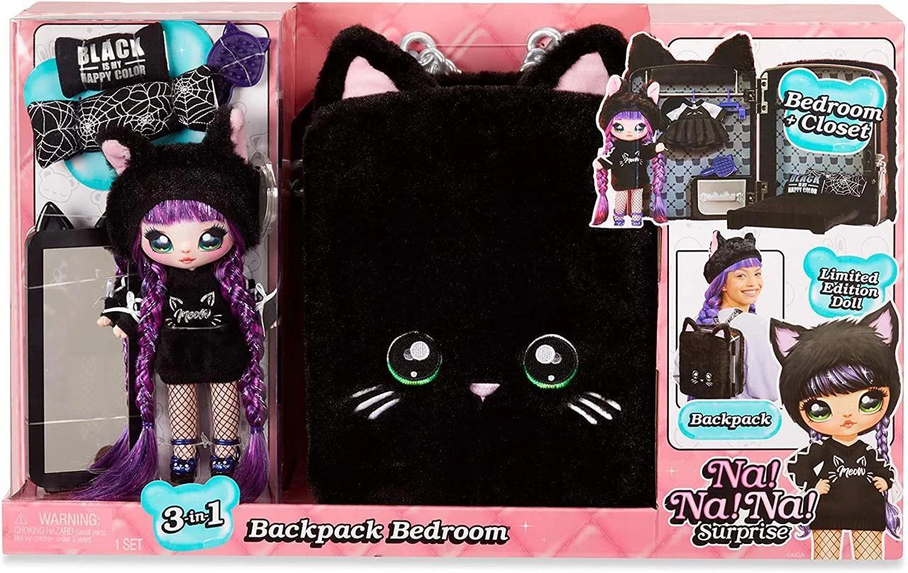 Набор Na Na Na Surprise Рюкзачок-кошечка / Na Na Na Surprise Backpack Bedroom Playset Black Fuzzy Kitty
