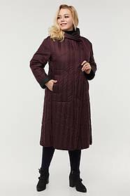 Бордовая женская длинная куртка-плащевка двухсторонняя, большой размер от  48 до 64
