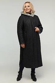 Прямое удлиненное пальто  стежка весна-осень, большой размер от  48 до 64