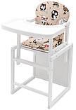 Стульчик- трансформер Babyroom Пони-240 белый пластиковая столешница  бежевый (совы), фото 2