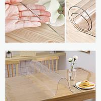 Прозрачная скатерть пленка мягкое стекло силиконовая на стол, толщина 2мм, глянцевая прозрачная 70х110см