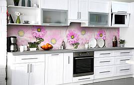 Самоклеющаяся Пленка для Фартука  Пышные Ромашки наклейка на стену 60х250см Цветы Розовый