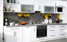Самоклеющаяся Пленка для Фартука  Желтые Каллы после дождя наклейка на стену 60х250см Цветы Коричневый