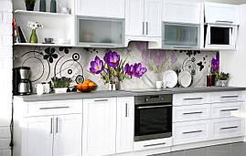 Кухонный фартук 3Д пленка Крокусы в снегу фотопечать наклейка на стену 60х250см Цветы