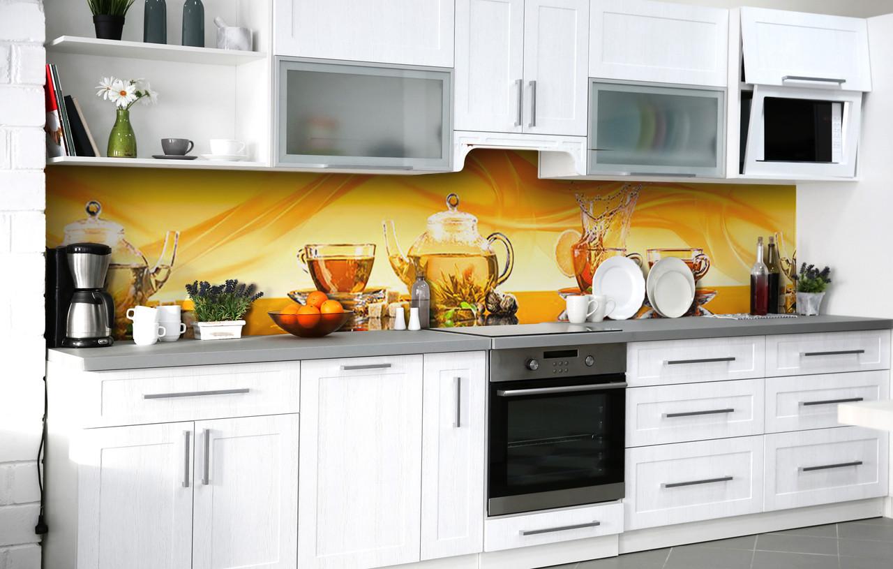 Кухонный фартук 3Д пленка Чай с лимоном фотопечать наклейка на стену 60х250см Напитки