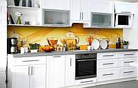 Кухонный фартук 3Д пленка Чай с лимоном фотопечать наклейка на стену 60х250см Напитки, фото 1
