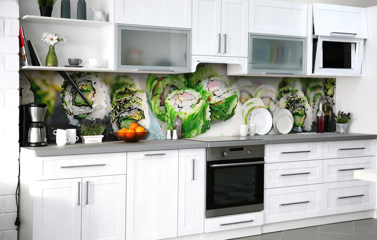 Кухонный фартук 3Д пленка Японский шеф фотопечать наклейка на стену 60х250см Еда