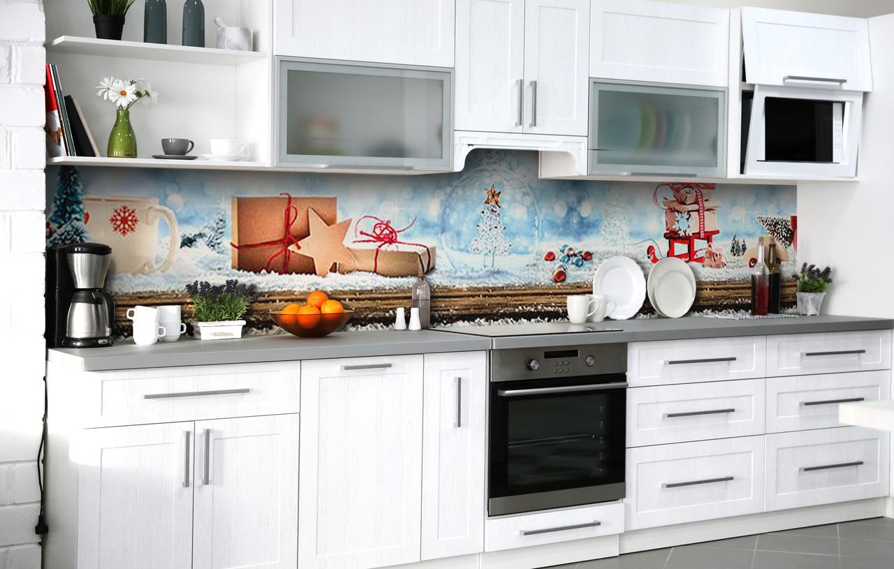 Кухонний фартух 3Д плівка Новорічні чудеса фотодрук наклейка на стіну 60х250см Текстура