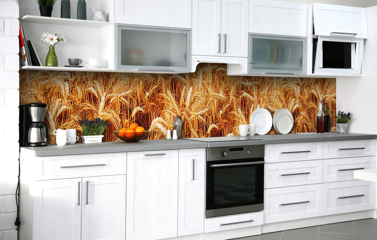Самоклейка Плівка для фартуха Пшеничне поле наклейка на стіну 60х250см Рослини