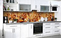 Самоклейка Плівка для фартуха Пшеничне поле наклейка на стіну 60х250см Рослини, фото 1