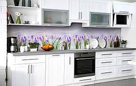 Самоклеющаяся Пленка для Фартука  Первые крокусы наклейка на стену 60х250см Цветы
