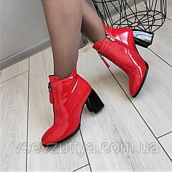 Красные лаковые ботинки женские на каблуке