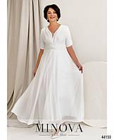 Безупречное женское белое платье блестящее на торжество, большой размер от 48 до 54