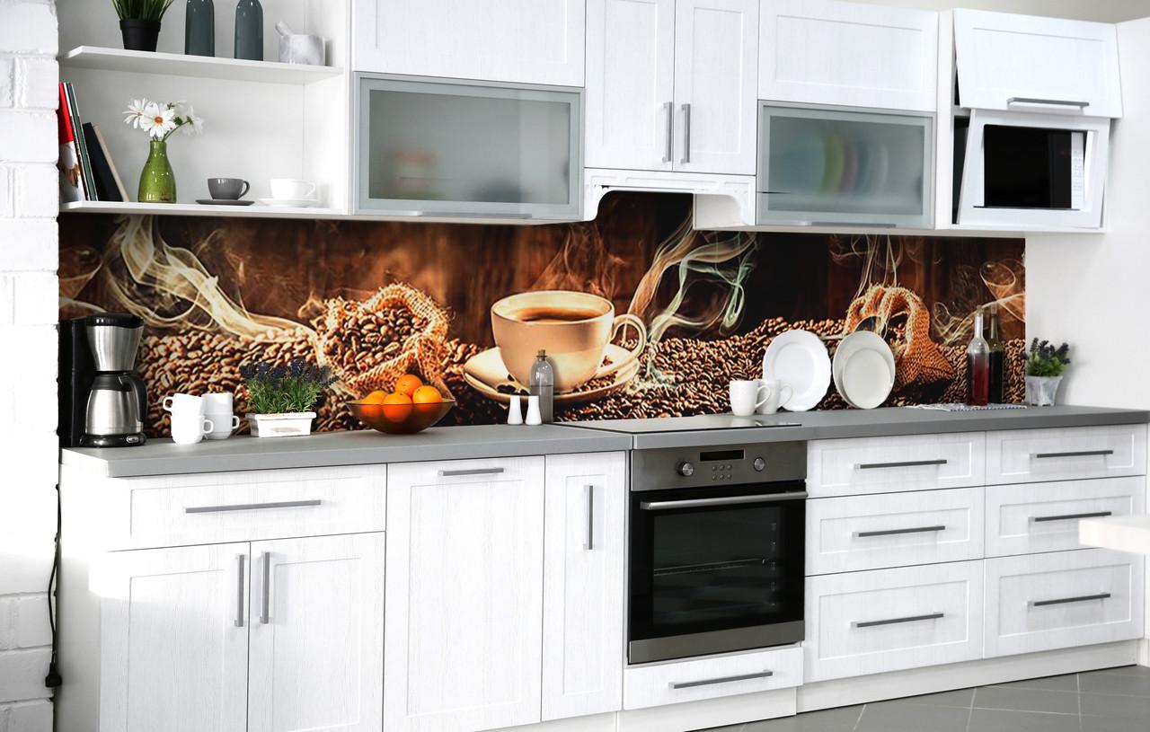 Кухонный фартук 3Д пленка Свежемолотый кофе фотопечать наклейка на стену 60х250см Кофе