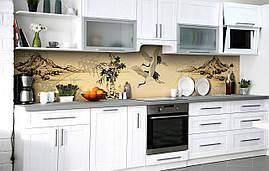 Самоклейка Плівка для фартуха Японські журавлі наклейка на стіну 60х250см Птахи