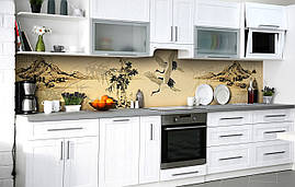 Самоклеющаяся Пленка для Фартука  Японские журавли наклейка на стену 60х250см Птицы