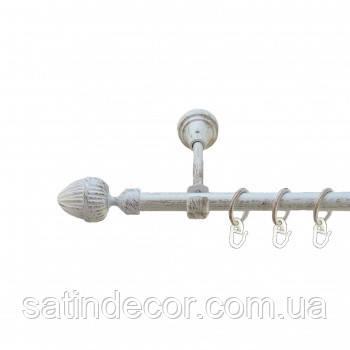 Карниз для штор металлический ОДЕОН однорядный 19мм 1.6м Белое золото
