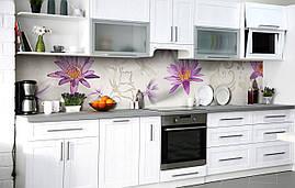 Самоклейка Плівка для фартуха Пурпурний лотос наклейка на стіну 60х250см Квіти