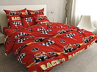 Комплект постельного белья Ралли тачки | Полуторный | Бязь Gold Lux