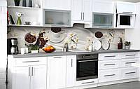 Кухонный фартук 3Д пленка Полная чаша фотопечать наклейка на стену 60х250см Кофе