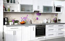 Кухонный фартук 3Д пленка Нежные крокусы фотопечать наклейка на стену 60х250см Цветы