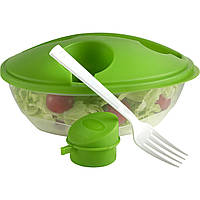 Контейнер для їжі з виделкою і контейнером, 1000 мл (прозорий, 22,5 x 18 x 10 см)