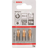 Биты Bosch 3 шт. 25мм PH2 TIN 2607001546
