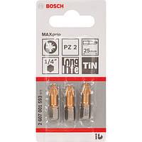 Биты Bosch 3 шт. 25мм PZ2 TIN 2607001593