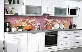 Кухонный фартук 3Д пленка Дикая ромашка фотопечать наклейка на стену 60х250см Цветы