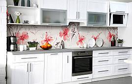 Кухонний фартух 3Д плівка Таємниці гібіскуса фотодрук наклейка на стіну 60х250см Квіти