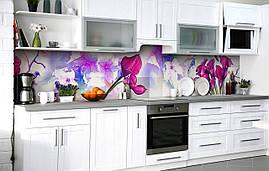 Самоклеющаяся Пленка для Фартука  Каллы сливового цвета наклейка на стену 60х250см Цветы