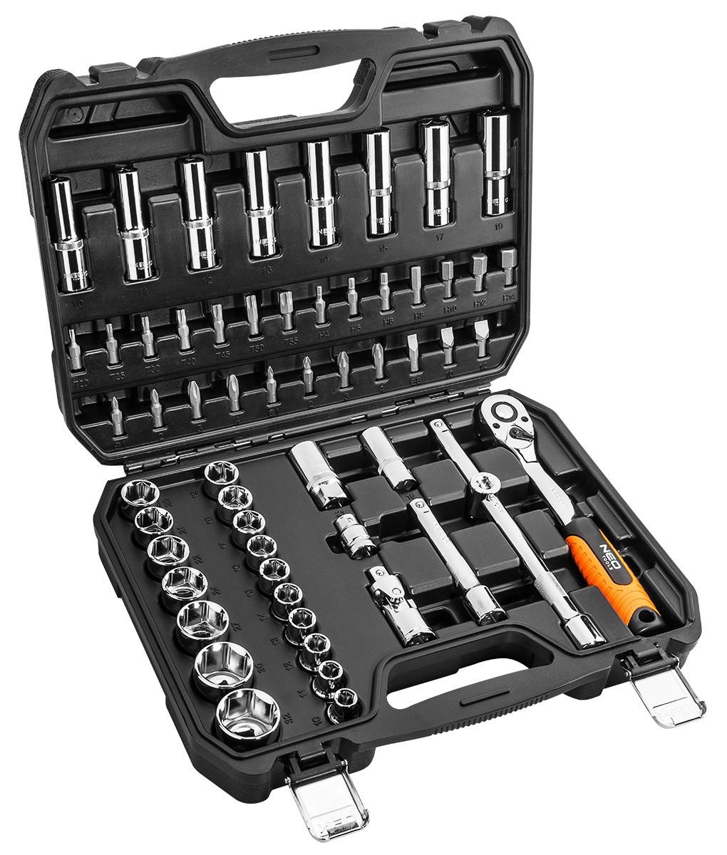 """Набір інструментів Neo Tools торцевих головок 58 шт, 1/2 """" (08-663)"""