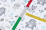 """Лоскут тканини """"Ведмеді з косинкою, лисички, зайчики"""" сіро-м'ятні на білому тлі, розмір 35*80 см, фото 4"""